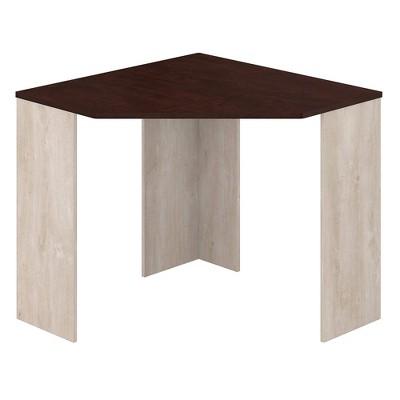 Townhill Corner Desk Washed Gray and Madison Cherry - Bush Furniture