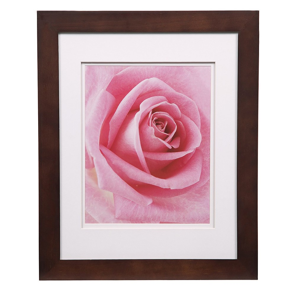 """Image of """"11"""""""" x 14"""""""" Wide Frame with Double Mat to 8"""""""" x 10"""""""" Walnut/White - Gallery Solutions"""""""