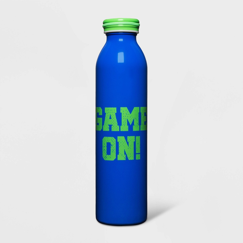 Image of 20oz Stainless Steel Water Bottle Game On! Blue/Green - Cat & Jack