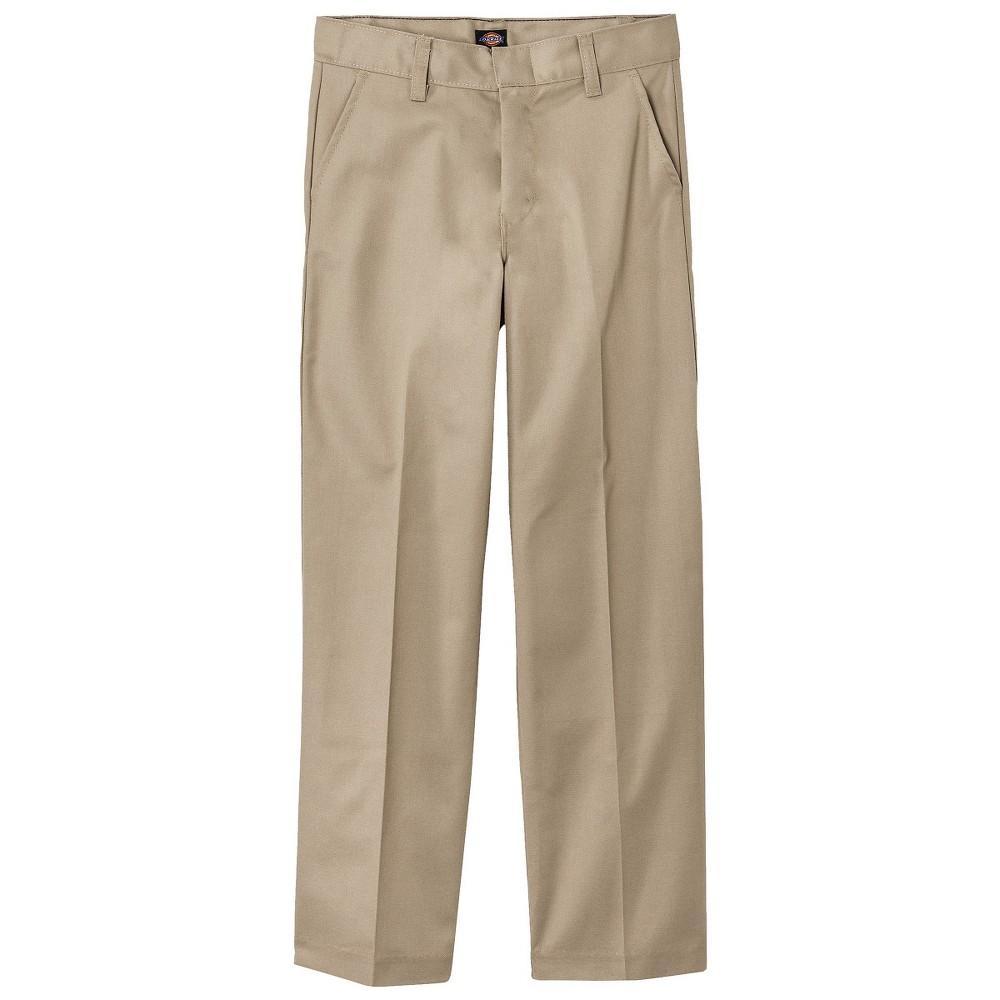 Dickies Boys' Classic Fit Flat Front Uniform Chino Pants - Khaki (Green) 8 Husky