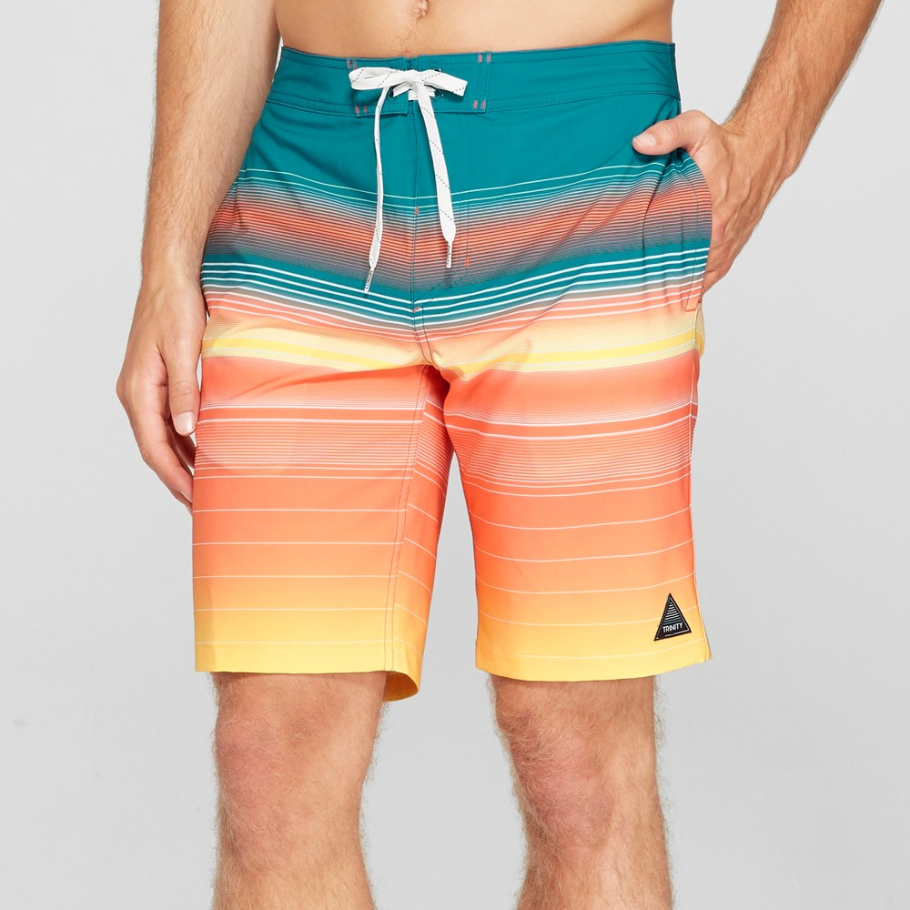 Trinity Collective Men's Striped 10 Board Shorts - Turquoise 34