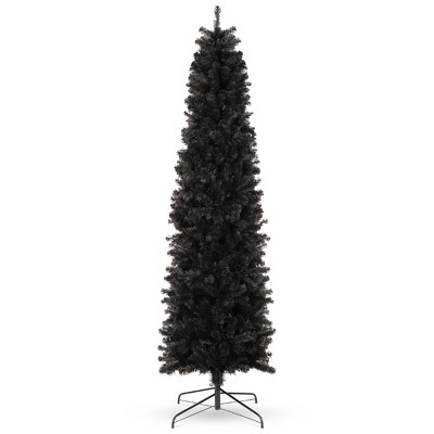 Best Choice Products Black Artificial Holiday Christmas Pencil Tree w/ Metal Base