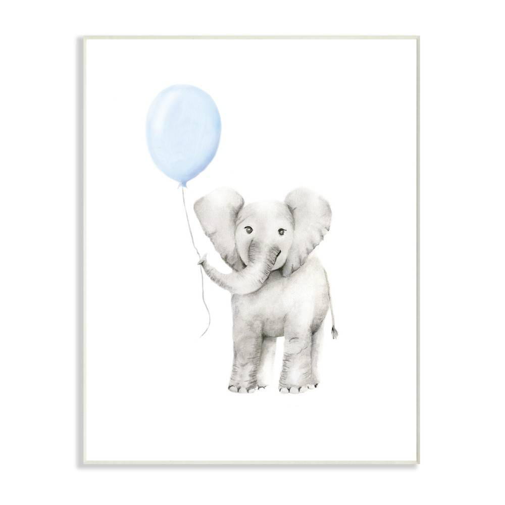 "Image of ""10""""x0.5""""x15"""" Baby Elephant with Blue Balloon Watercolor Wall Plaque Art - Stupell Industries"""