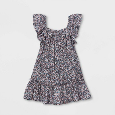 Toddler Girls' Floral Ruffle Sleeve Dress - Cat & Jack™ Blue