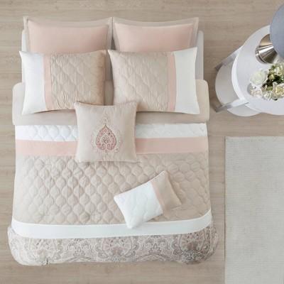 8pc King Stacie Comforter Set Blush Pink
