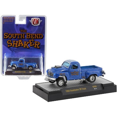 """1950 Studebaker 2R Pickup Truck """"The South Bend Shaker"""" Blue Heavy Metallic with White Stripes Ltd Ed 4400 pcs 1/64 Diecast Model Car by M2 Machines"""