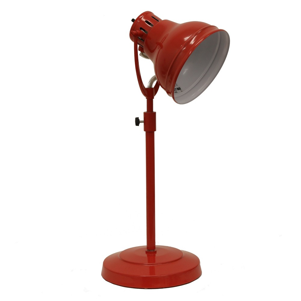Desk Task Table Lamp With Adjustable Shade Red (Lamp Only) - Decor Therapy