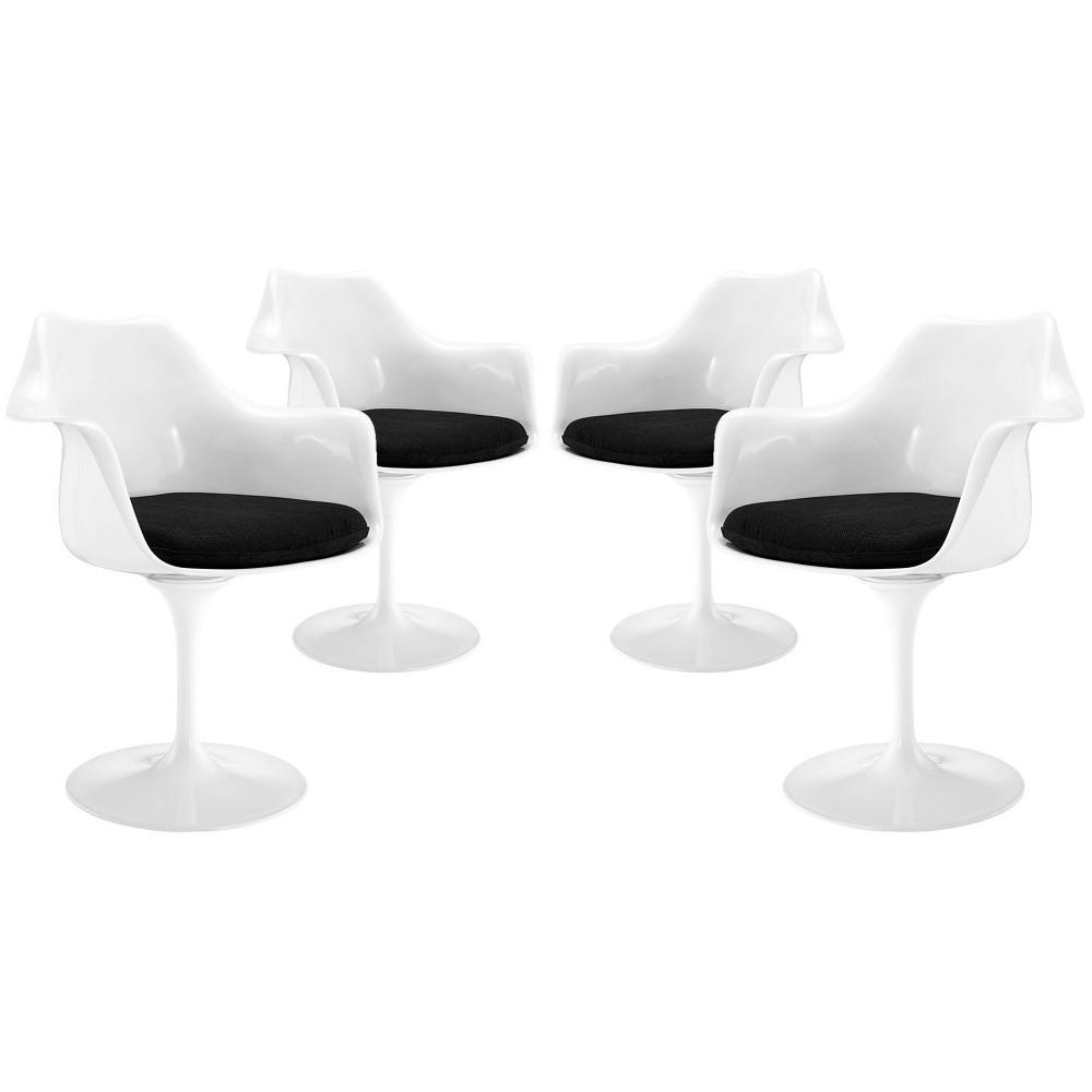 Lippa Dining Armchair Set of 4 Black - Modway