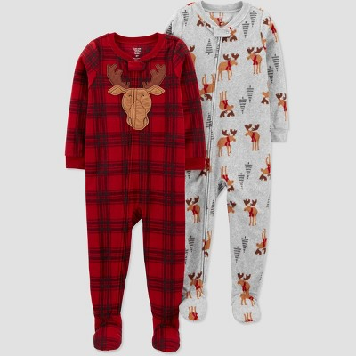 Baby Boys' Buffalo Moose Footed Pajama - Just One You® made by carter's Red 9M