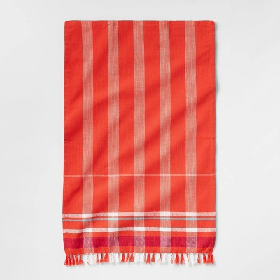 Cotton Border Striped Kitchen Towel Orange - Opalhouse™