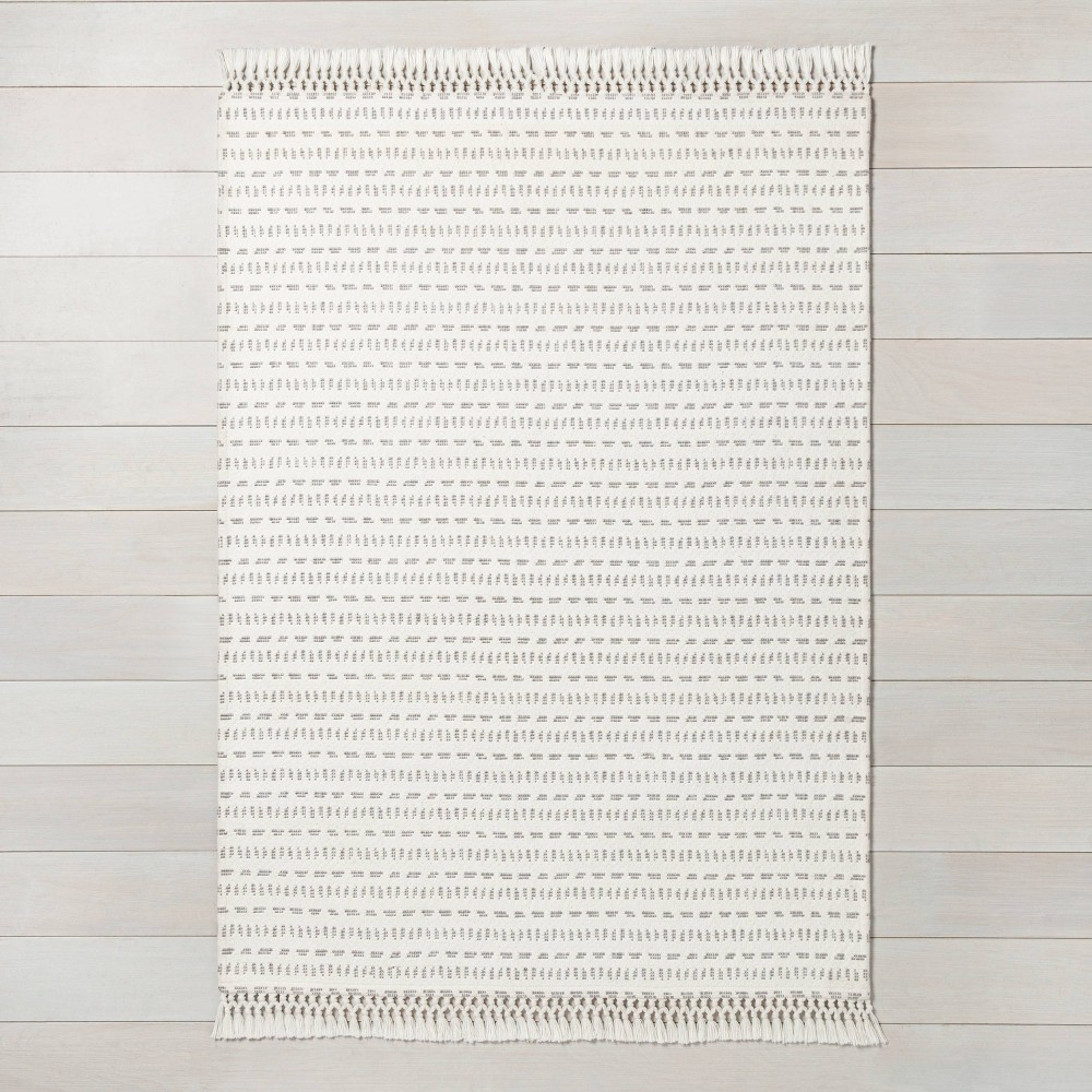 x 3' Pattern Stripe Area Rug Jet Gray / Sour Cream