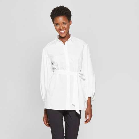 Women's Long Sleeve Nouveau Button-Up Tunic - Who What Wear™ - image 1 of 3