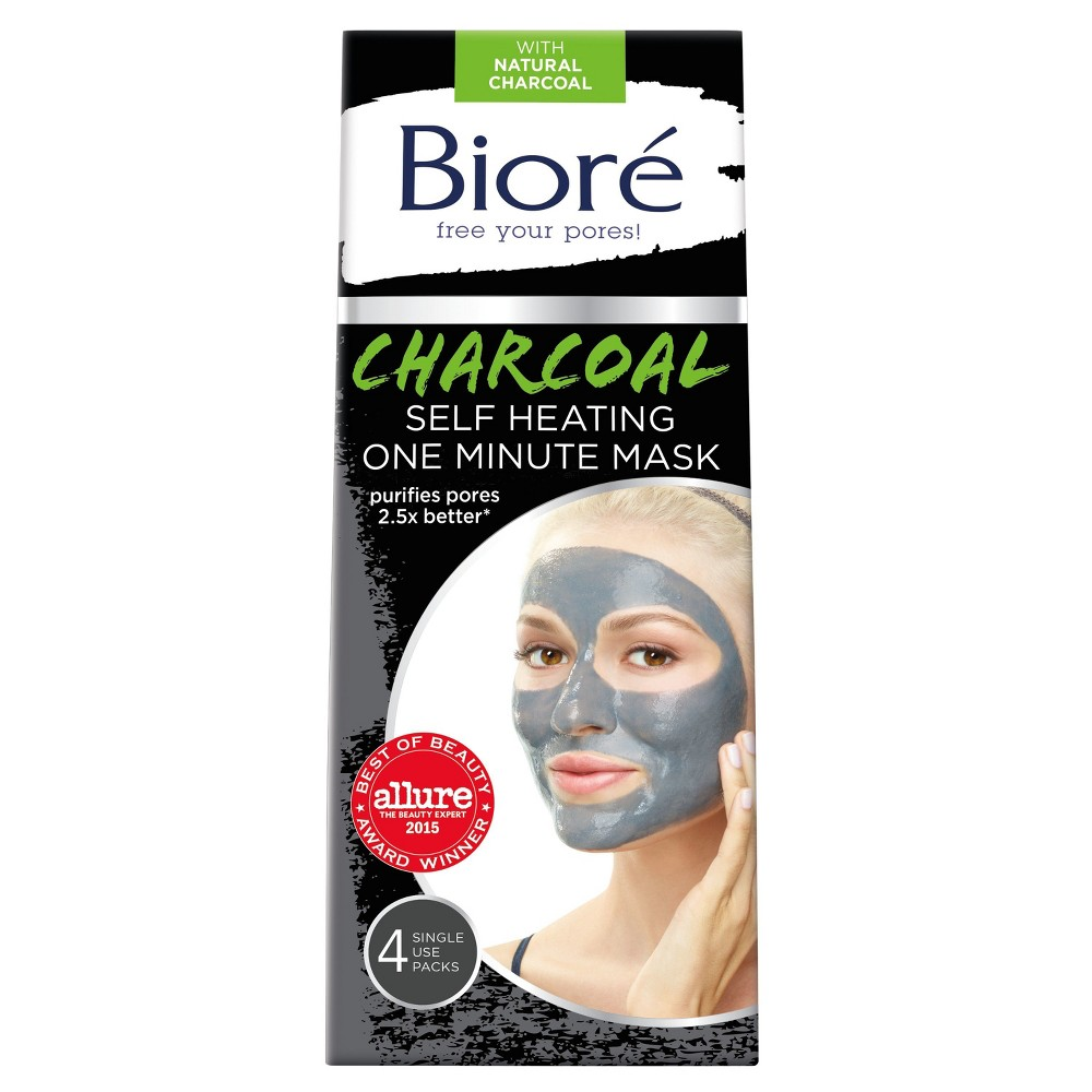 Biore Self Heating One Minute Mask - Natural Charcoal - 4ct