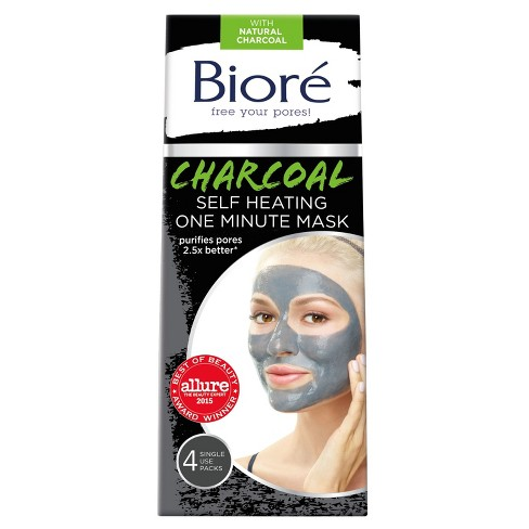 Biore Self Heating One Minute Face Mask - Natural Charcoal - 4ct - image 1 of 4