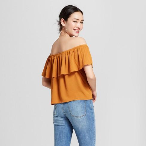 286f796e45998 Women s Short Sleeve Off The Shoulder Flounce Embroidered Crop Top -  Xhilaration™   Target