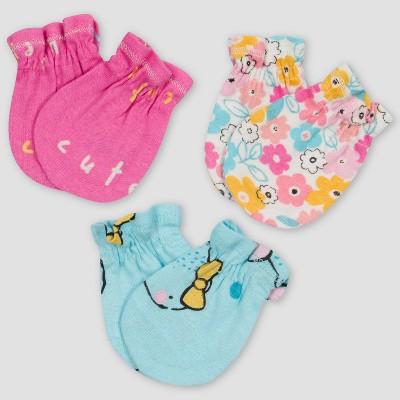 Gerber Baby Girls' 3pk Bear Mittens - Pink/Off-White/Blue