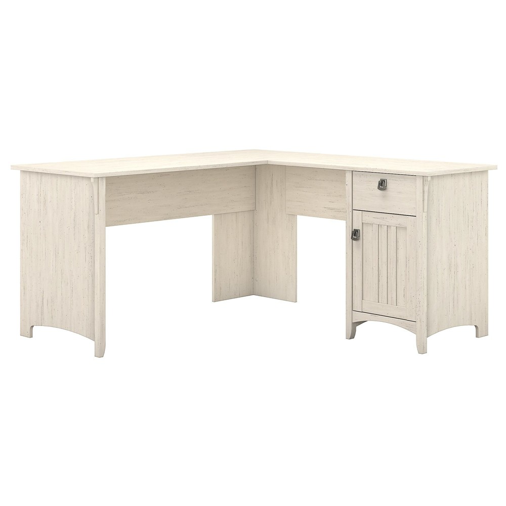 Salinas L Shaped Desk With Storage Antique White - Bush Furniture