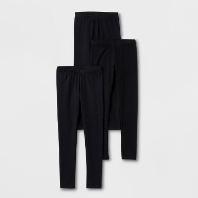 Girls' 3pk Leggings - Cat & Jack™ Black