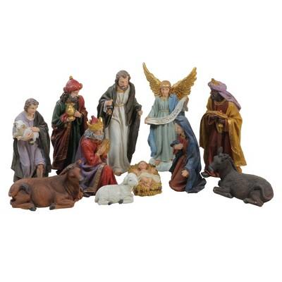 "Northlight 11pc Blue and Red Christmas Nativity Figurine Set 12.25"""