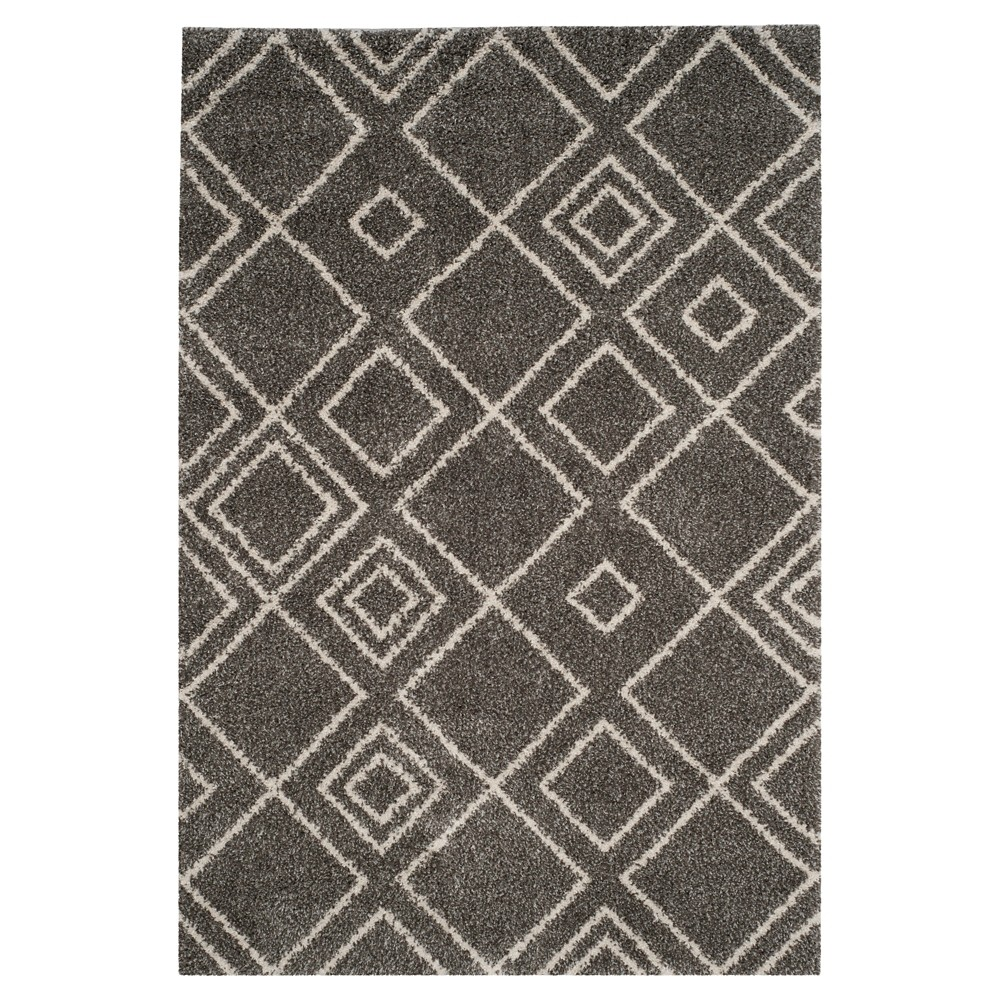 Brown/Ivory Abstract Shag/Flokati Loomed Area Rug - (6'7