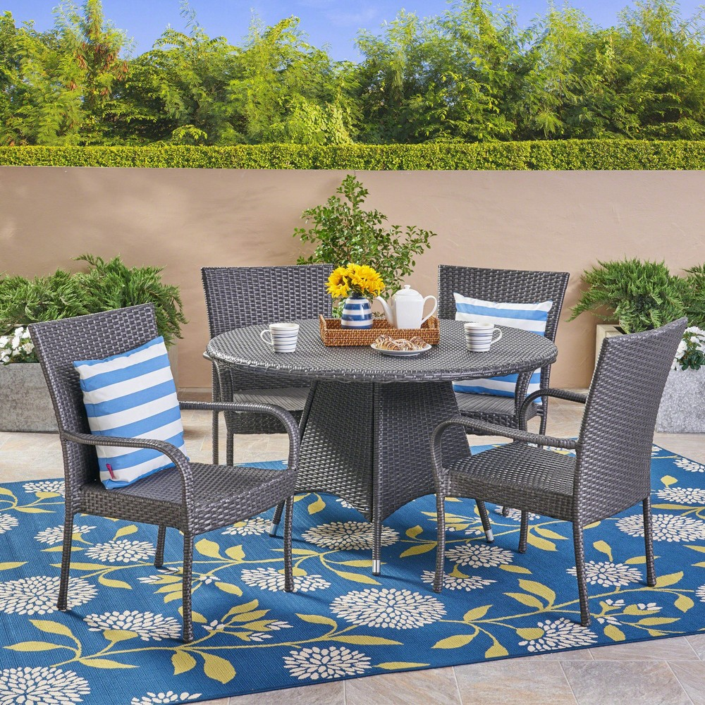 Grant 5pc Wicker Dining Set - Gray - Christopher Knight Home