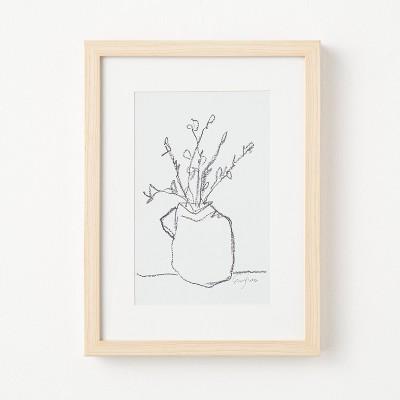 """12"""" x 16"""" Flower Pot Framed Wall Art Black/White - Threshold™ designed with Studio McGee"""