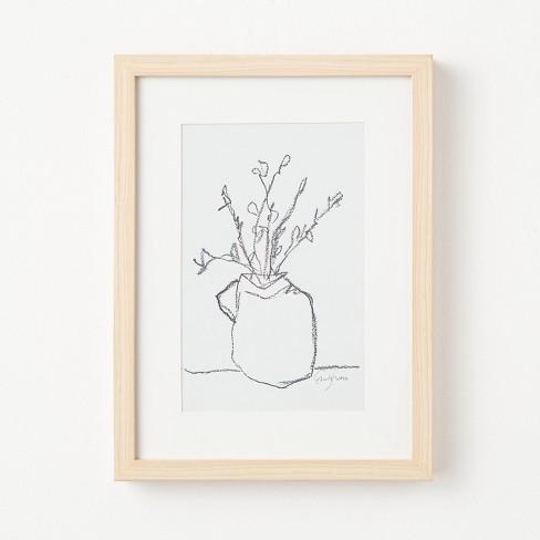 "12"" x 16"" Flower Pot Framed Wall Art Black/White - Threshold™ designed with Studio McGee - image 1 of 4"
