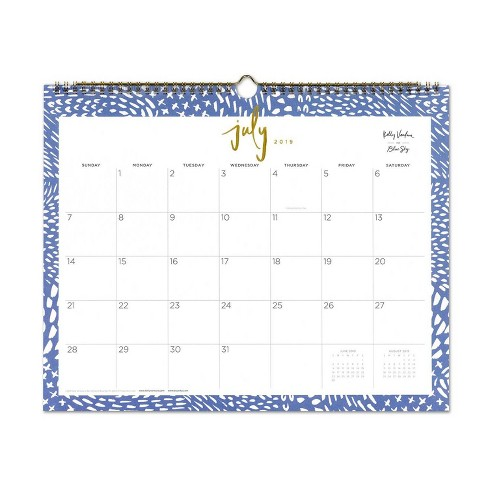 2019-2020 Academic Wall Calendar Blue/White - Kelly Ventura for Blue Sky - image 1 of 3