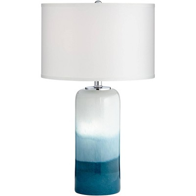 Possini Euro Design Coastal Table Lamp with Nightlight LED Blue Art Glass Column White Drum Shade for Living Room Bedroom Bedside