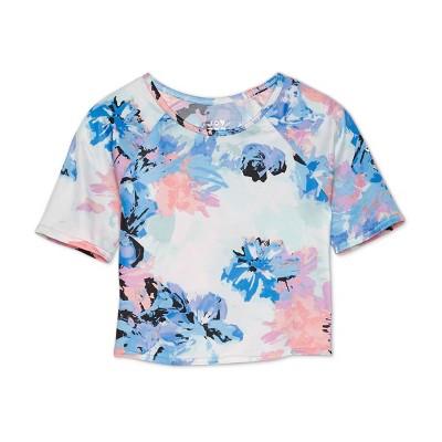 petiteWomen's Knotted Back Short Sleeve Rashguard Swim Top - JoyLab Blue Floral XS