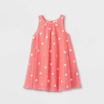 Toddler Girls' Daisy Embroidered Tulle Dress - Cat & Jack™ Pink