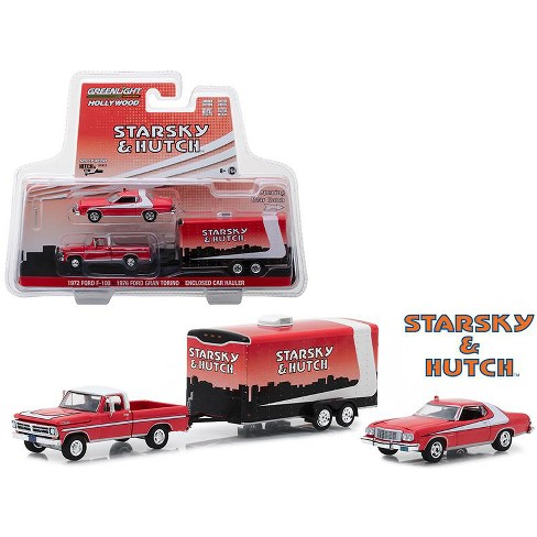 """1972 Ford F-100 Pickup Truck & 1976 Ford Gran Torino w/Enclosed Car Hauler """"Starsky and Hutch"""" TV Series 1/64 Greenlight - image 1 of 1"""