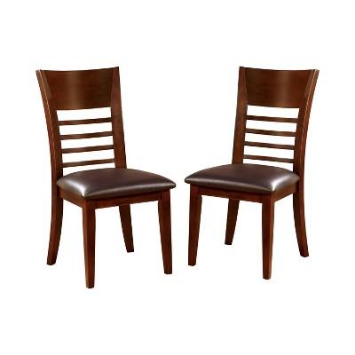 Set of 2 Perrington Ladder Back Leatherette Padded Side Chair Brown Cherry - miBasics