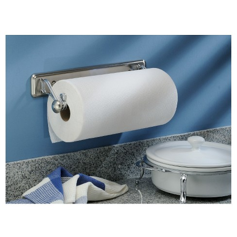 Interdesign York Lyra Steel Wall Mount Paper Towel Holder Brushed Nickel Chrome 15