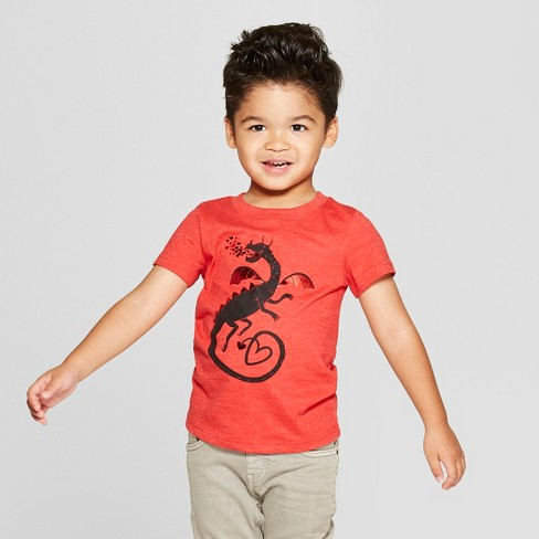 Toddler Boys' Love Dragon Short Sleeve T-Shirt - Cat & Jack™ Red - image 1 of 3