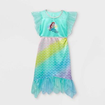 Girls' Disney Princess Ariel Rainbow Mermaid Nightgown - Green