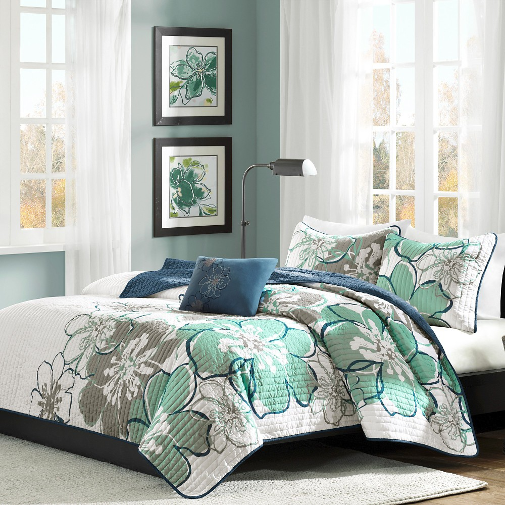 Kelly Floral Coverlet Set (Twin/Twin Extra Long) Blue&Gra...