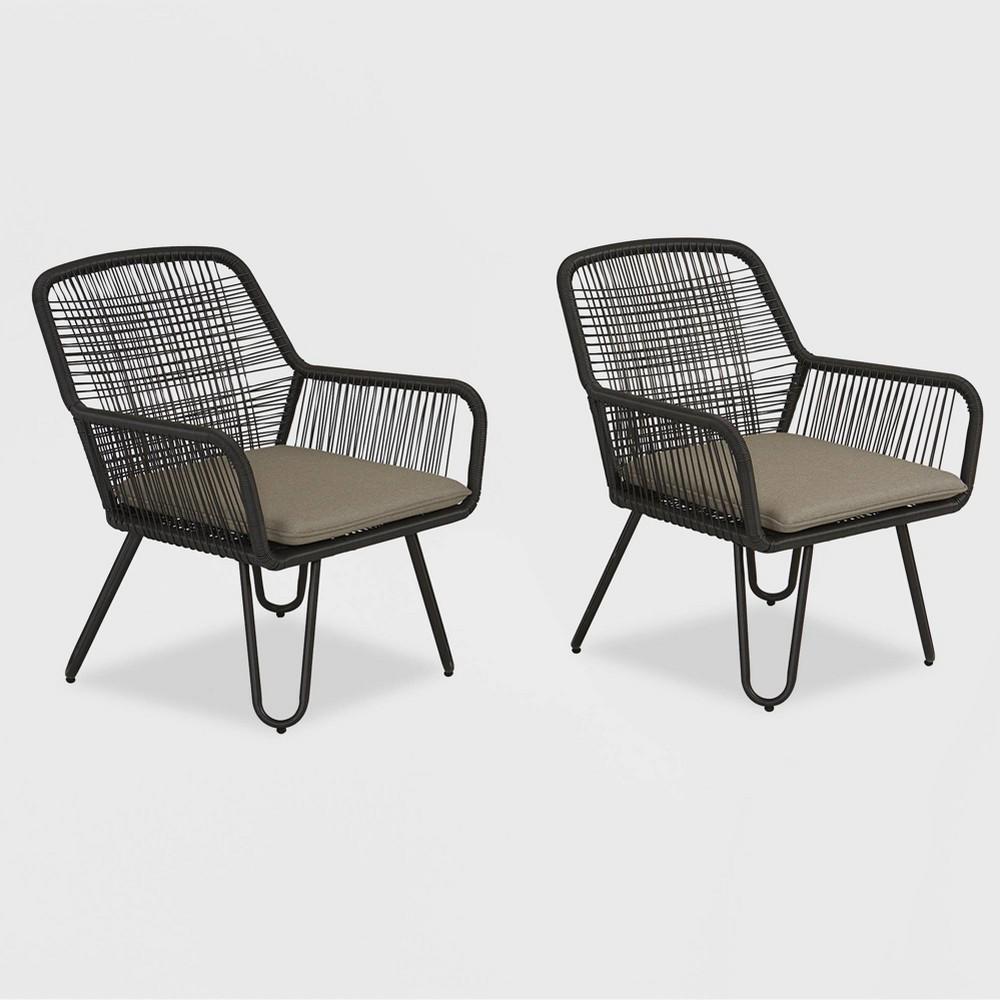 Marli 2pk Patio Lounge Chairs - Charcoal Gray - Novogratz