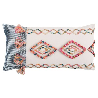 """14""""x26"""" Geometric Polyester Filled Pillow Pink - Rizzy Home"""