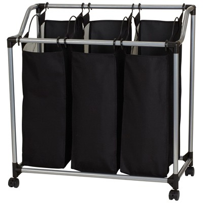 Household Essentials 3 Bag Sorter with Vented Bags Black