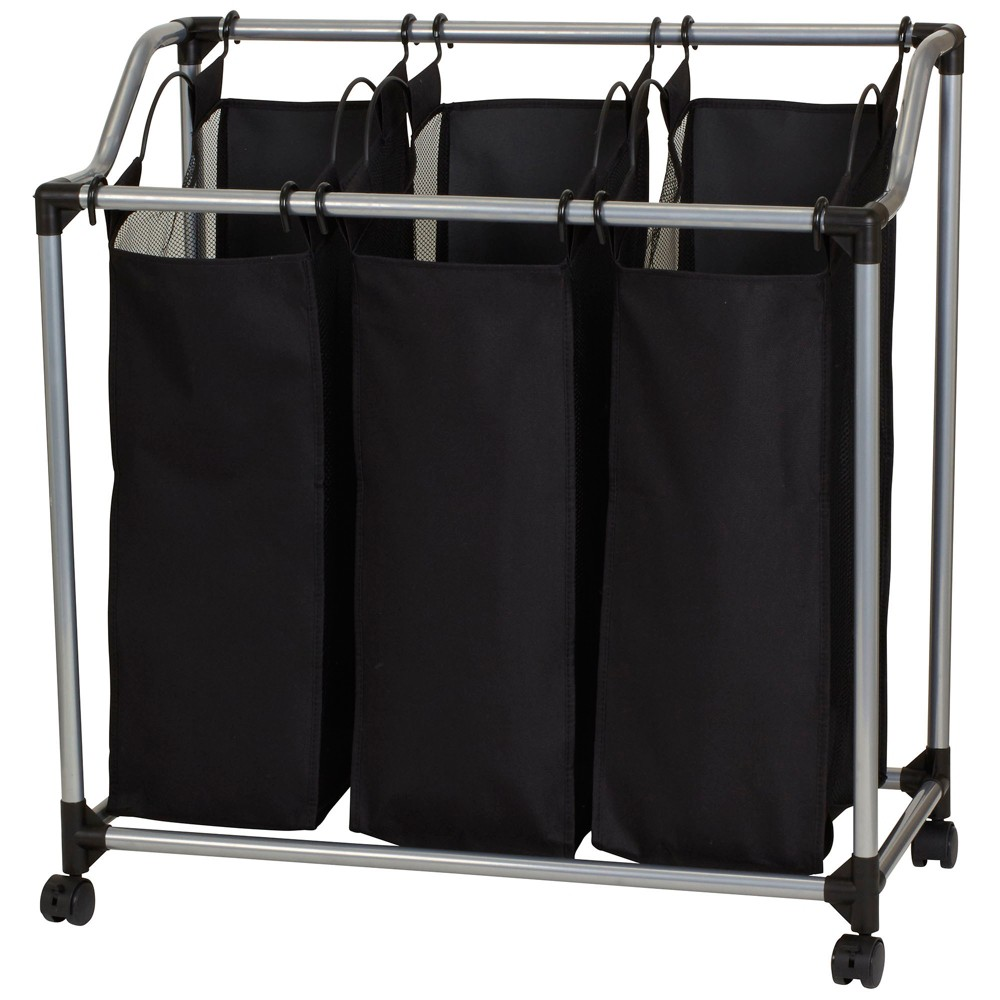 Household Essentials 3-Bag Sorter with Vented Bags, Black, Silver