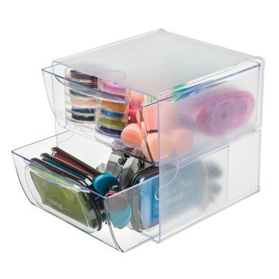 deflect-o Two Drawer Cube Organizer, Clear Plastic, 6 x 7-1/8 x 6