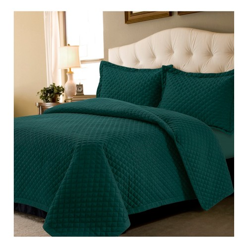 Teal (Blue) Brisbane Solid Oversized Diamond Quilt Set (Twin) - Tribeca Living