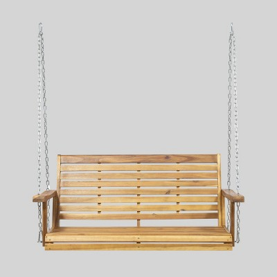 Tasmania Acacia Patio Wood Porch Swing - Christopher Knight Home