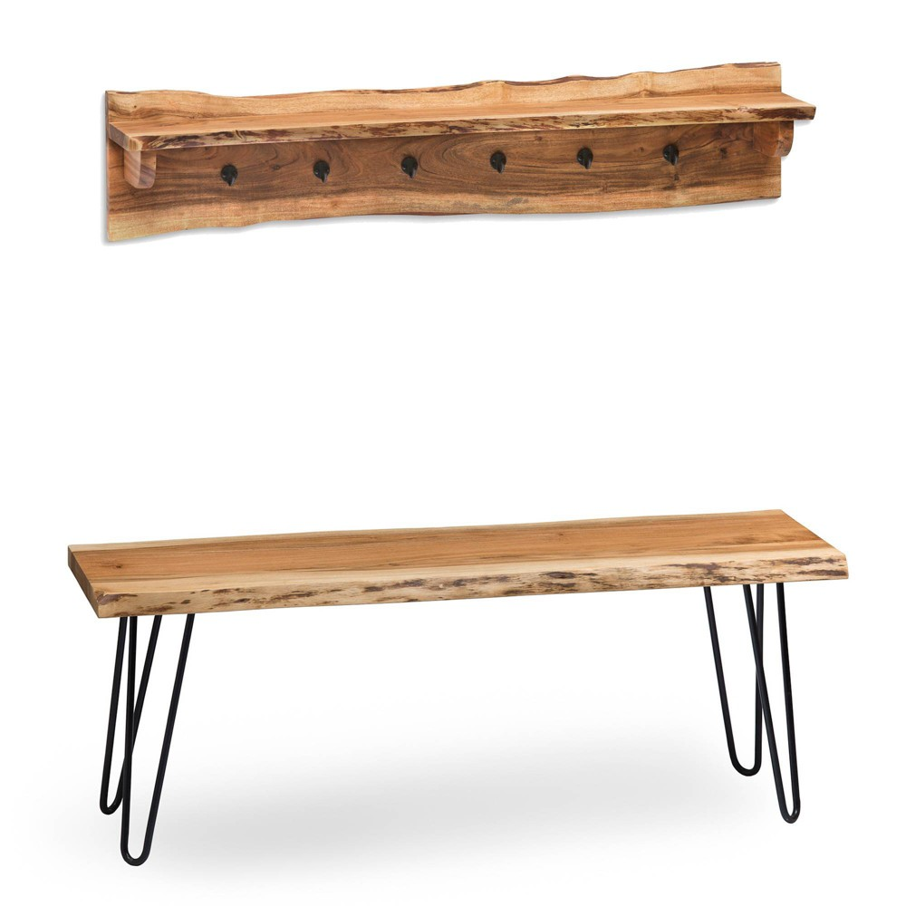 48 Hairpin Live Edge Wood Bench with Coat Hook Shelf Set Natural - Alaterre Furniture