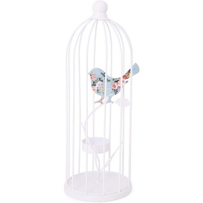 "Farmlyn Creek Bird Cage Decorative Iron Tealight Candle Holder for Party Home Decor, White 3.9""x10.7"""