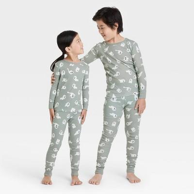Kids' Halloween Ghost Print Matching Family Pajama Set - Gray