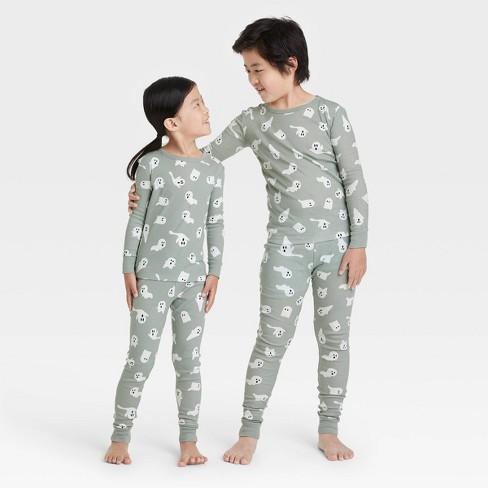 Kids' Halloween Ghost Print Matching Family Pajama Set - Gray - image 1 of 3