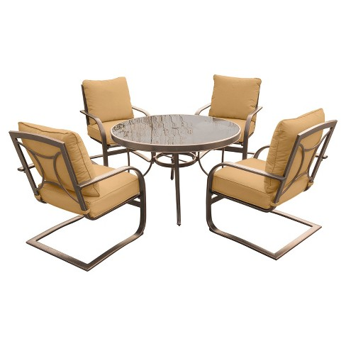 Summer Nights 5pc Round Metal Patio Dining Set - Tan - Hanover - image 1 of 5