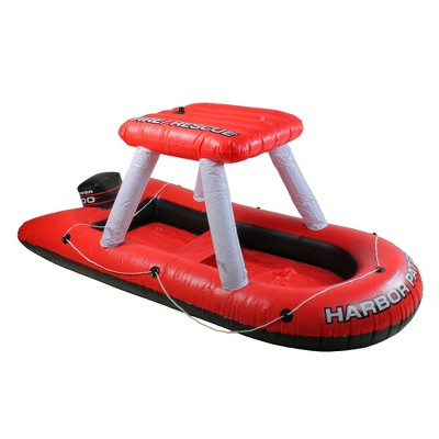 """Swimline 60"""" Fire Boat Inflatable Ride-On Swimming Pool Float with Water Squirter Toy - Red/White"""